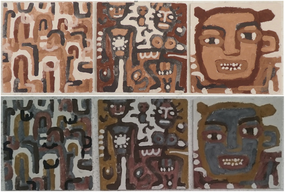 3 painted and bisk fired clay tiles at the Sandy Brown Museum, Appledore - before and after (North Devon earth pigments on clay tiles; 28x28cm each) © p ward 2020