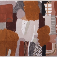 kerdhes dhe gonis / walk to work (Cornish earth pigments on salvaged card; 71x55cm) © p ward 2020
