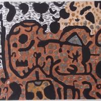 porthgwarras (Cornish earth pigments on salvaged card; 55x41cm) © p ward 2020