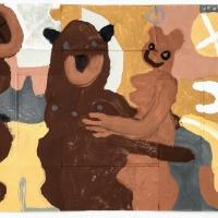 014 big bare hug (Cornish earth pigments on salvaged card; 55x41cm)