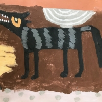028 wild calling (Cornish earth pigments on paper; 56x38cm)