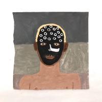 048 self portrait with face paint (Cornish earth pigments on paper; 28x28cm)
