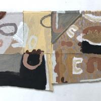 051 ways of catching rain (Cornish earth pigments on salvaged card; 24x17cm)