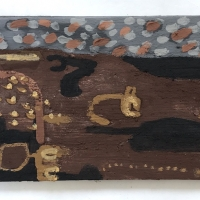 052 adaptation and resilience (Cornish earth pigments on salvaged wood; 60x23cm)