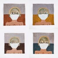056 talking eyes 4 - self (Cornish earth pigments on paper; 4 26x26cm) © p ward 2020