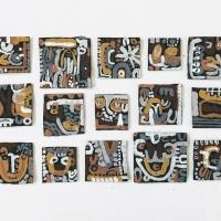 066 phenomenon (Cornish earth pigments salvaged card; approx 28x18cm/5x5cm) © p ward 2020