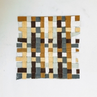 087 earth weave 4 (Cornish earth pigments on paper; 13.5x13.5cm) © p ward 2020