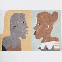 04 furtive exchange (Cornish earth pigments on watercolour board; 23x15cm) © p ward 2020