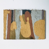 06 conversation with a boulder (Cornish earth pigments on salvaged timber; 15x11cm) © p ward 2020