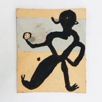 12 medium (Cornish earth pigments on salvaged card; 33x40cm) © p ward 2020