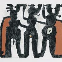13 earth troupe (Cornish earth pigments on watercolour board; 41x30cm) © p ward 2020