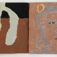 16 diwedhva-derowyow /ending-beginning (Cornish earth pigments on salvaged card; 2 20x19cm panels) © p ward 2020