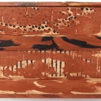 offcuts in an offcut frame vii – looking out to sea (earth pigments on wood) © p ward 2017