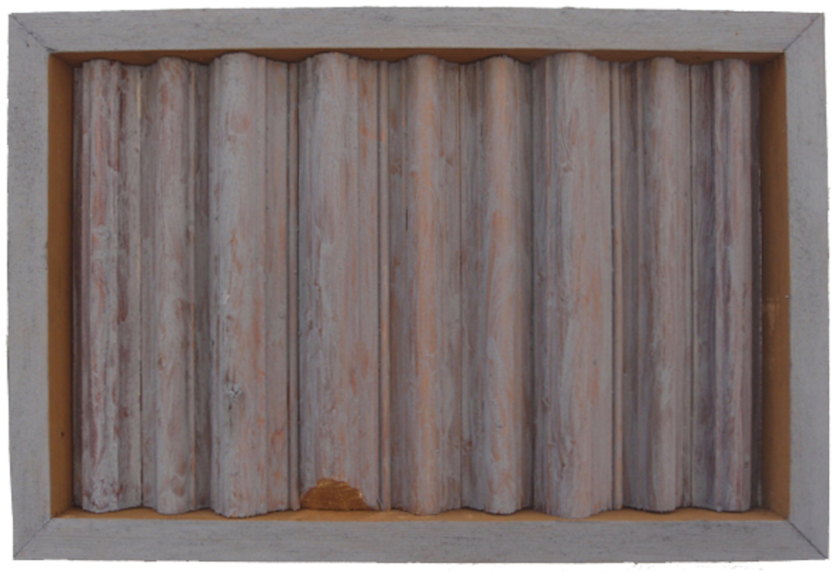 offcuts in an offcut frame iv - wabi sabi (earth pigments on wood) © p ward 2016
