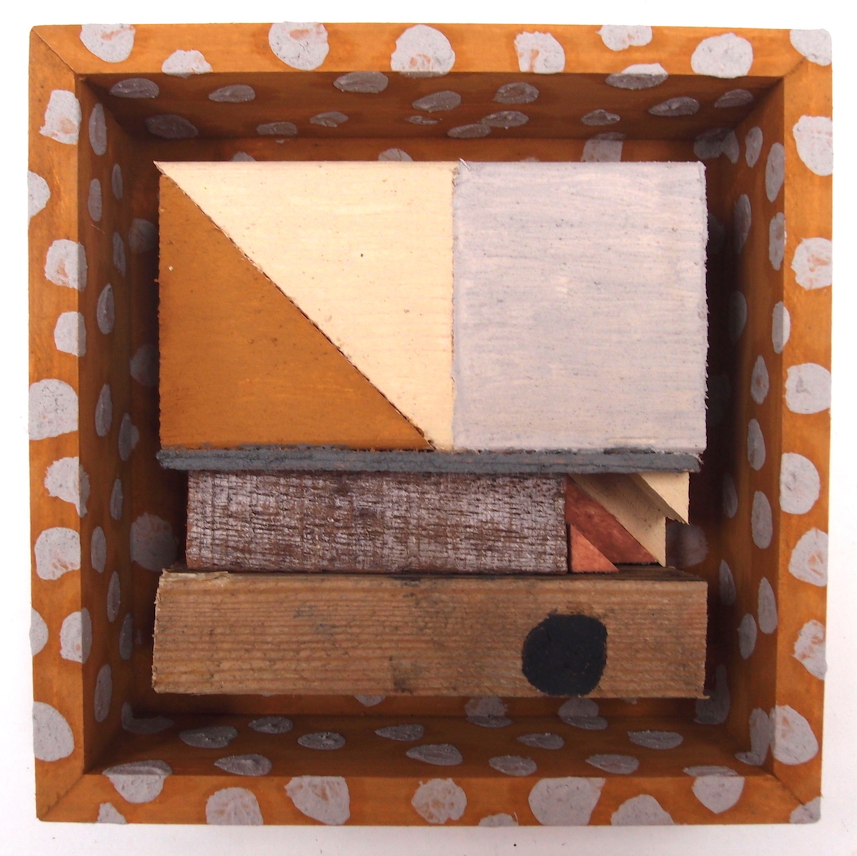offcuts in an offcut frame viii - quite small (earth pigments on wood) © p ward 2017