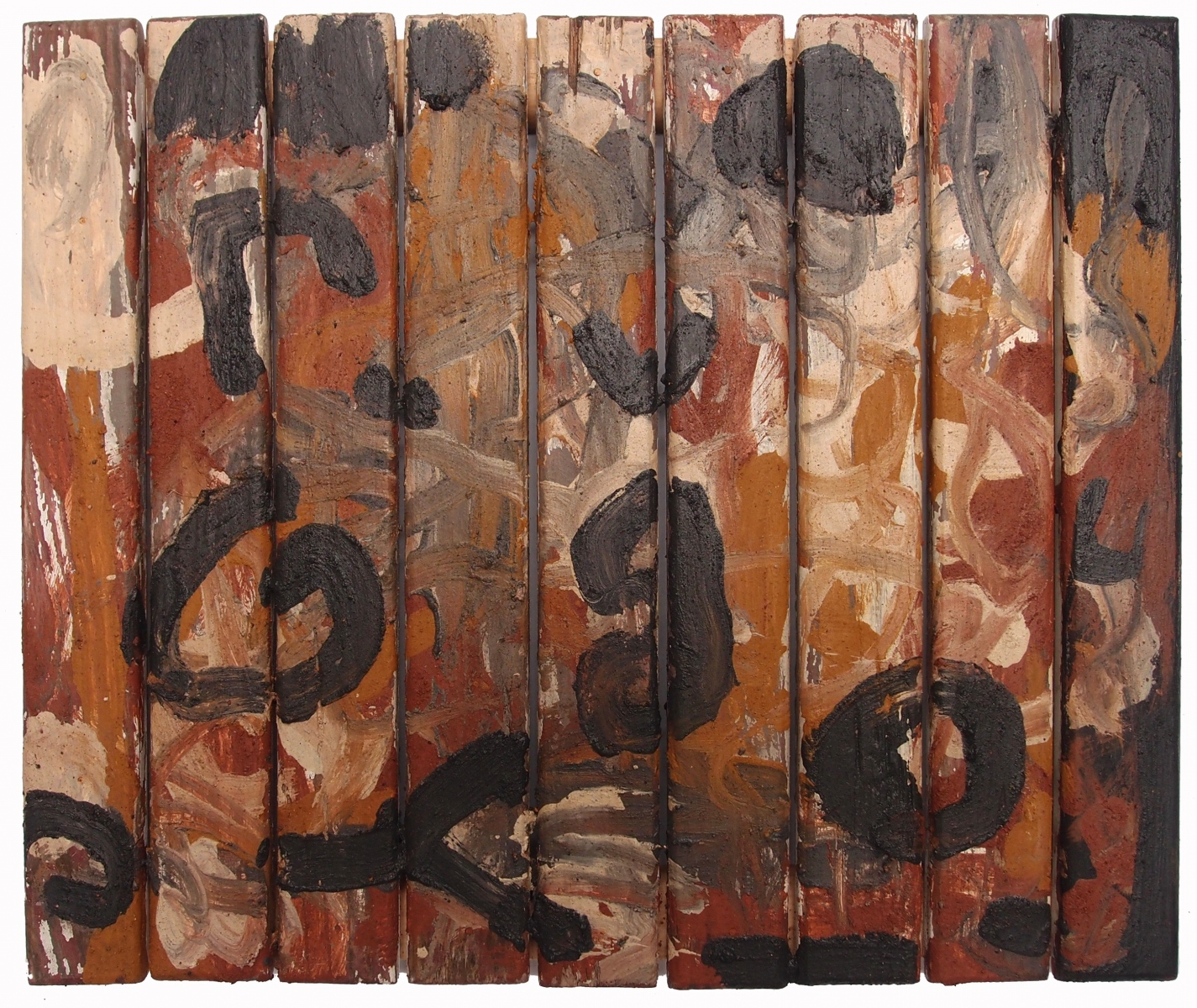 un nuovo modo di parlare/eine neue Art zu sprechen/une nouvelle façon de parler/a new way to speak (earth pigments on reclaimed wood) © p ward 2017