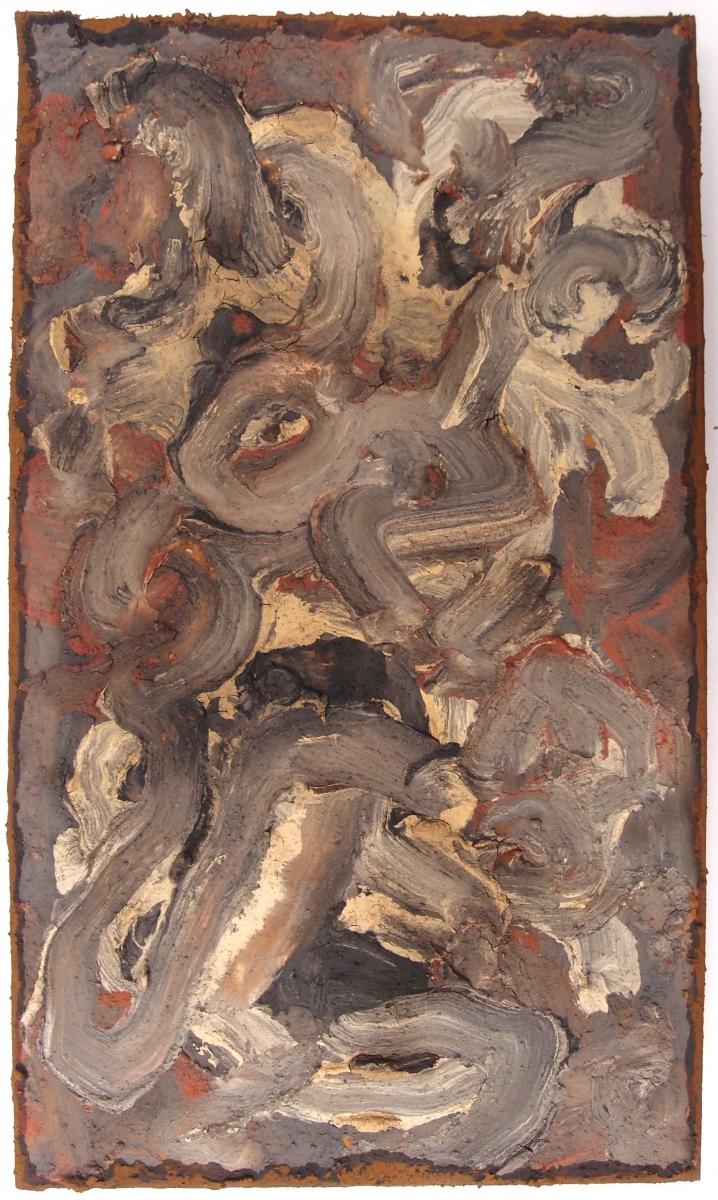 una capra in turbolenza/eine Ziege in Aufruhr/une chèvre dans la tourmente/a goat in turmoil (earth pigments on board) © p ward 2017